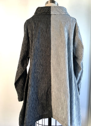 A line tunic with hand dyed shibori circle. Luxurious corded Japanese cotton