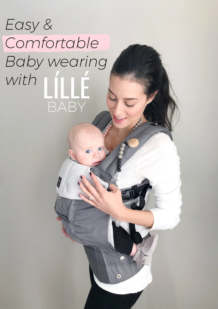 Baby Wearing A Teething Baby With Lille Baby Complete Baby Carrier
