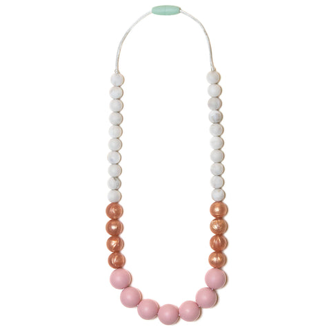 Anna Silicone Teething Necklace - Rose Quartz