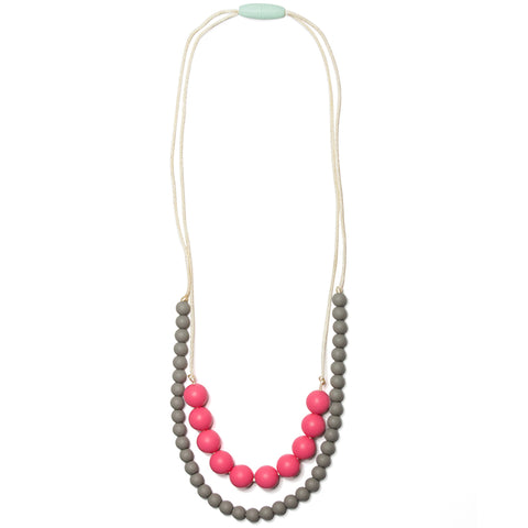 Deila Silicone Teething Necklace - Bubblegum & Pebble