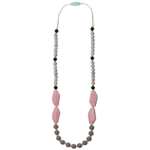 Frida Silicone Teething Necklace - Rose Quartz