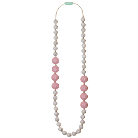 Sofia Silicone Teething Necklace - Rose Quartz