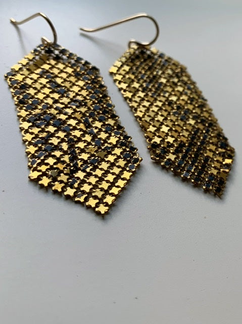 Early Black Gold Mesh Earrings
