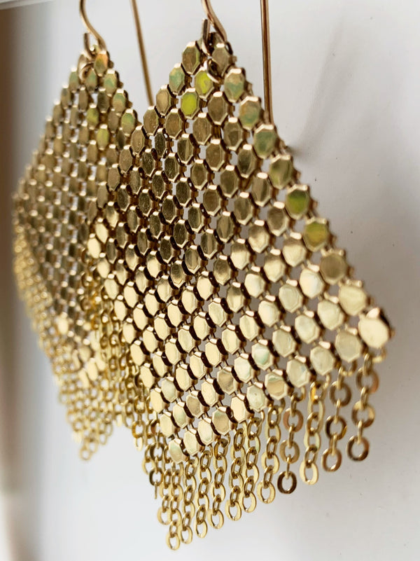 Large Gold Shimmy Mesh Earrings