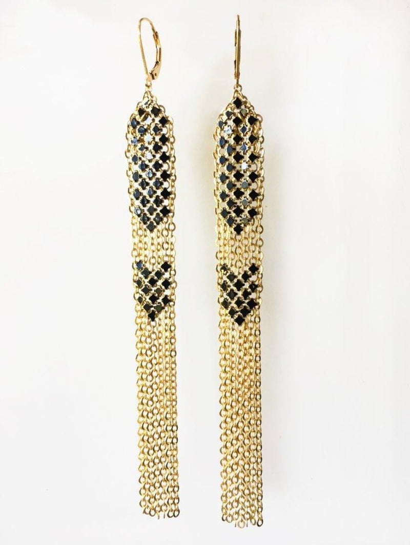 Black Stacked Mesh Earrings, Long Dusters, handmade with metal mesh recycled from an antique enamel mesh purse. by Maral Rapp