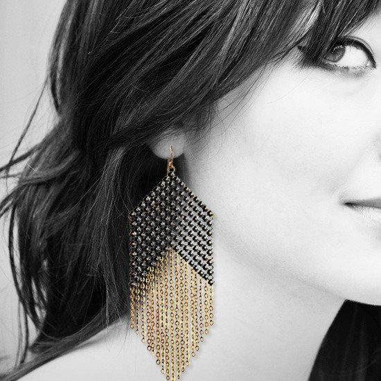 Blackpoint Fringed Mesh Earrings on model, handmade by Maral Rapp with enamel mesh recycled from a vintage metal mesh purse.