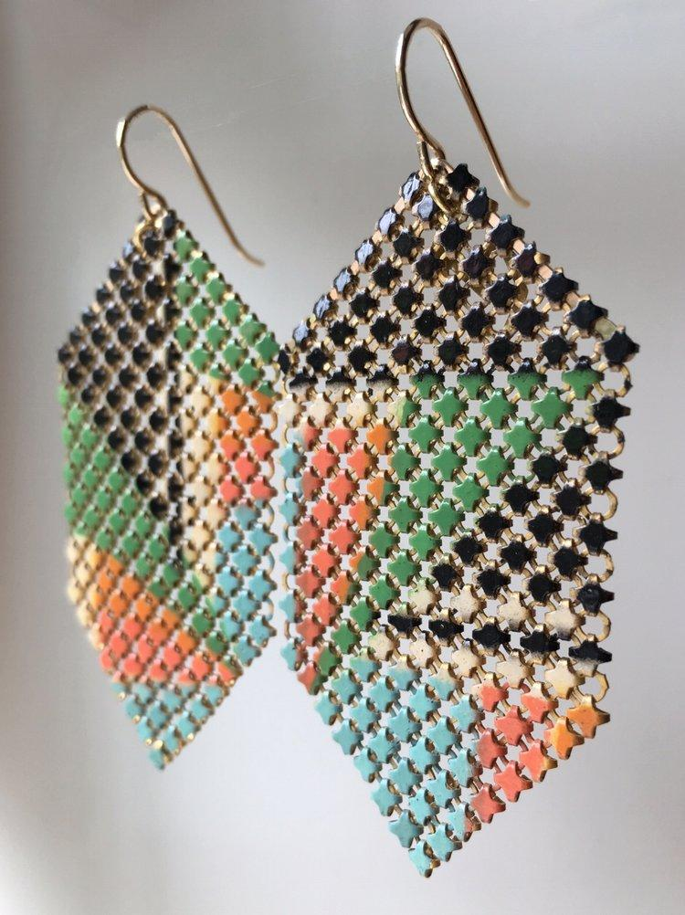 Cubism Modern Mesh Earrings, very rare, handmade with enamel mesh recycled from an antique metal mesh purses. by Maral Rapp, Modern Vintage Mesh Works