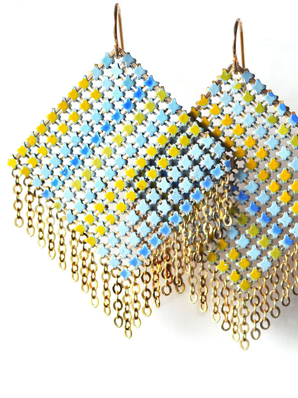 Large Shimmy Mesh Earrings Aqua
