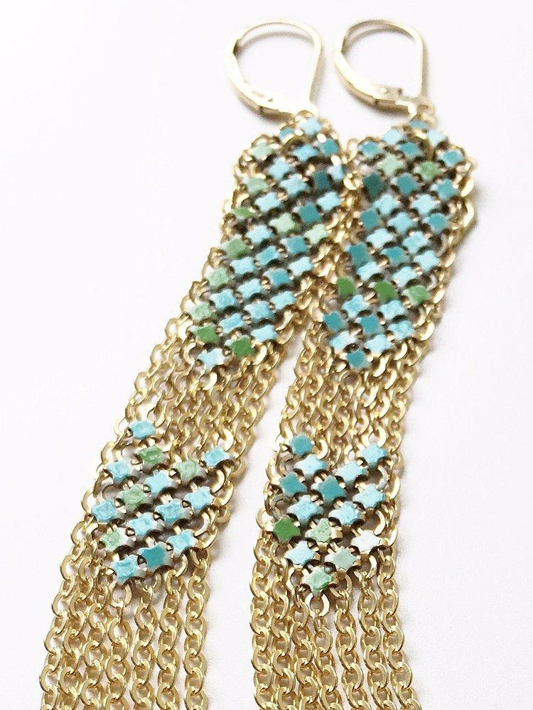 Detail of Aqua Stacked Duster Mesh Earrings, by Maral Rapp, handmade with metal mesh recycled from an antique enamel mesh purse