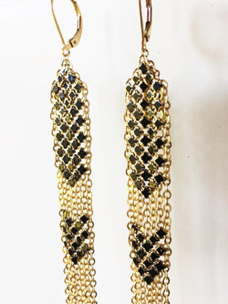 Detail of Black Stacked Mesh Earrings, Long Dusters, handmade with metal mesh recycled from an antique enamel mesh purse. by Maral Rapp