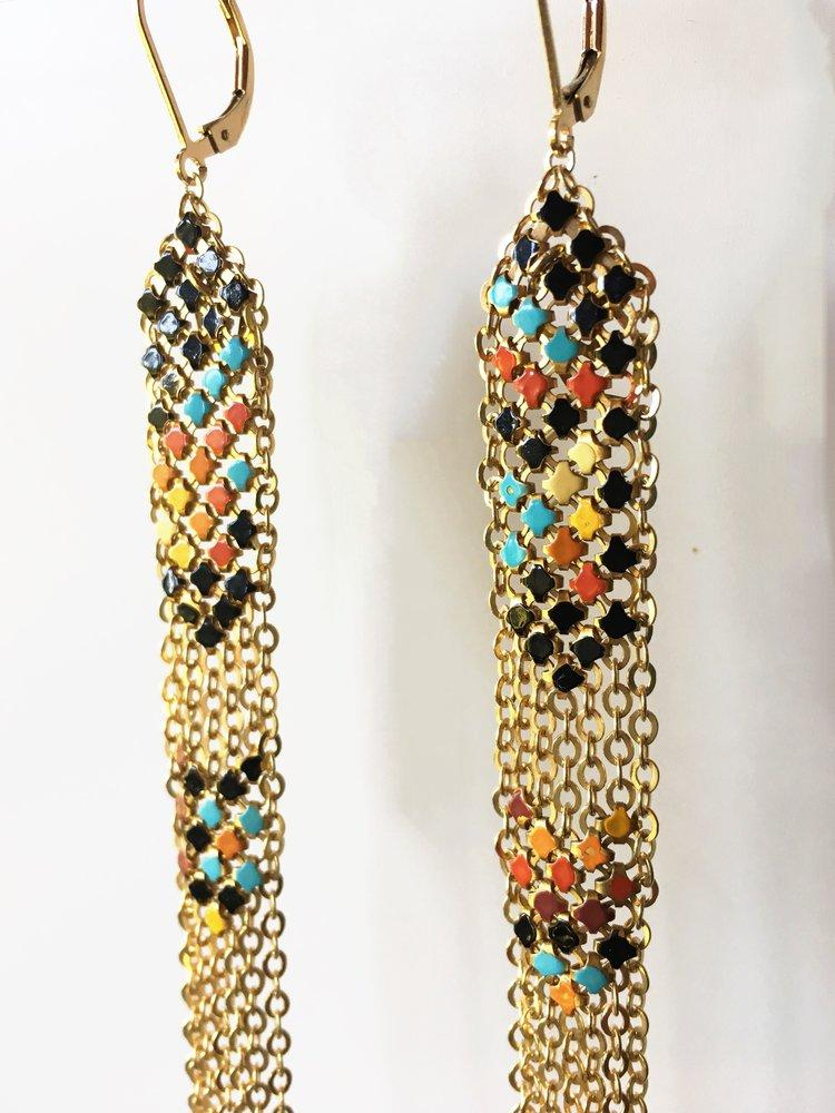 Detail of Festival Stacked Mesh Duster Earrings handmade with multicolor enamel mesh recycled from an antique metal mesh purse. by Maral Rapp