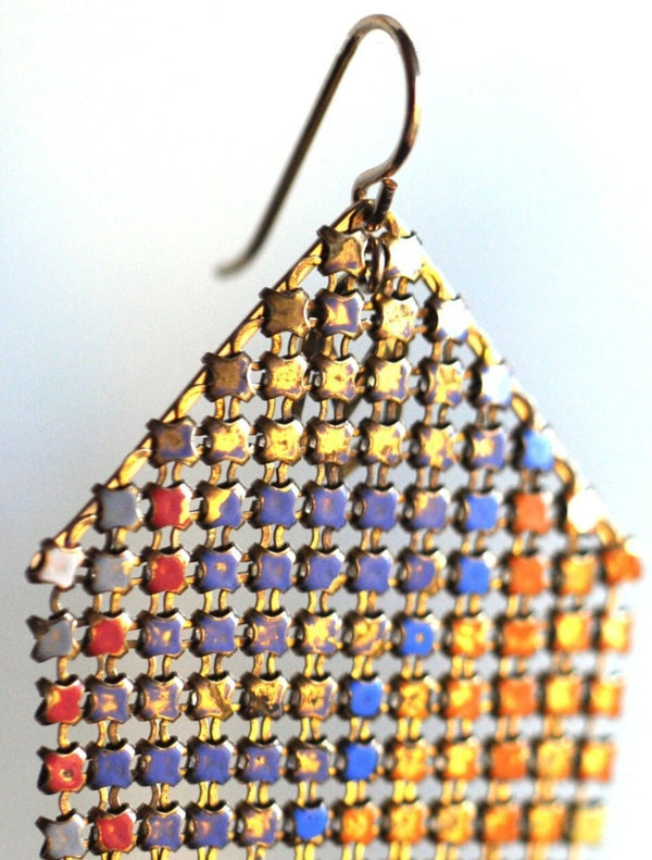 Faded Color Antique Mesh Earrings, handmade with metal mesh recycled from an antique enamel mesh purse. By Maral Rapp, Modern Vintage Mesh Works