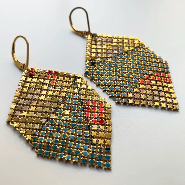 Early Antique Gestural Mesh Earrings