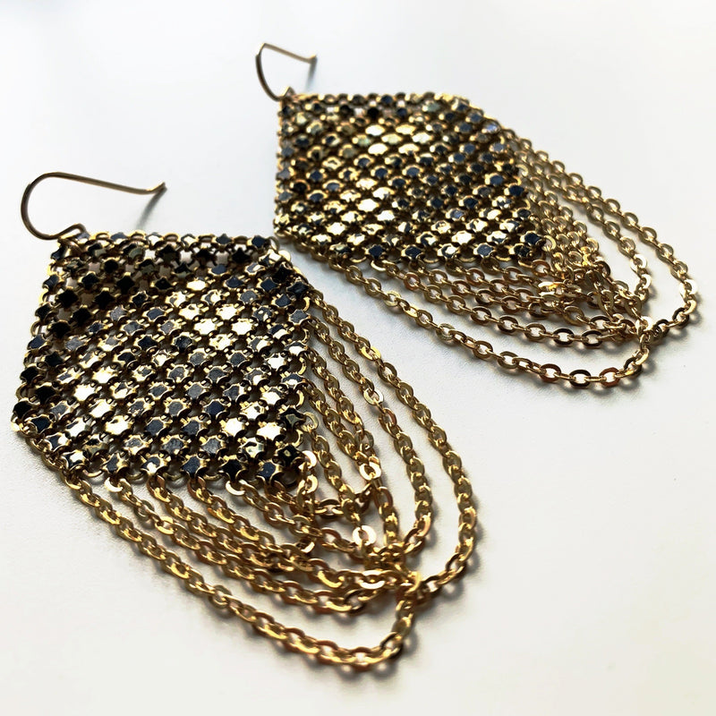 Swagged Lantern Mesh Earrings in Faded Black, handmade by Maral Rapp with enamel metal mesh recycled from an antique mesh purse.