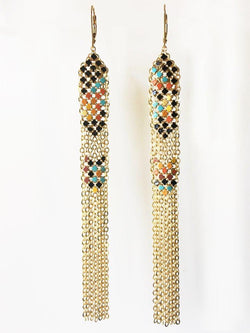 Festival Stacked Mesh Duster Earrings handmade with multicolor enamel mesh recycled from an antique metal mesh purse. by Maral Rapp