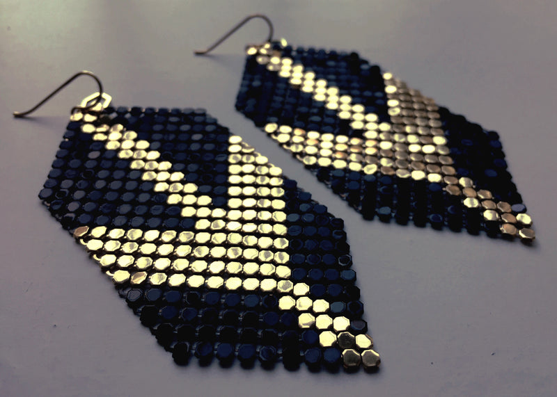Deco Arrow Huge Mesh Earrings, Black + Gold, hand-pieced from two reclaimed vintage metal mesh purses. by Maral Rapp, Modern Vintage Mesh Works