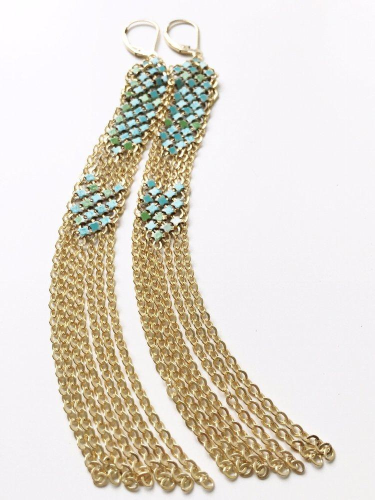 Aqua Stacked Duster Mesh Earrings, handmade with metal mesh recycled from an antique enamel mesh purse. by Maral Rapp, Modern Vintage Mesh Works