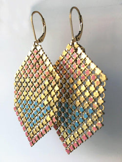 Pastel Pink + Blue Antique Mesh Earrings, handmade with metal mesh recycled from an antique enamel link purse. by Maral Rapp