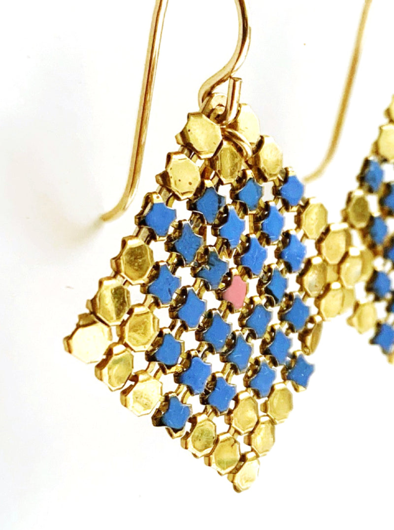 Petit Four Mesh Earrings - Blue