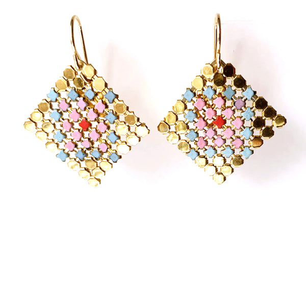 Petit Four Mesh Earrings - Pink
