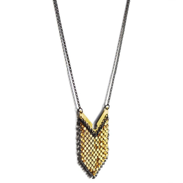 Anchored Badge Mesh Necklace, oxidized sterling silver with gold metal mesh recycled from a vintage mesh purse. by Maral Rapp
