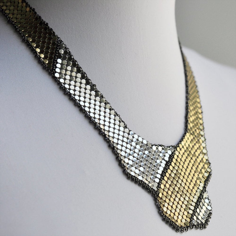 Shield + Banner Mesh Bib Necklace