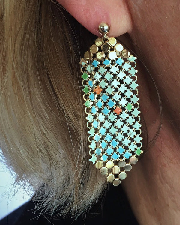 Aqua Gold Tipped Mesh Earrings, on model,, handmade with gold + enamel metal mesh recycled from two vintage mesh purses. by Maral Rapp