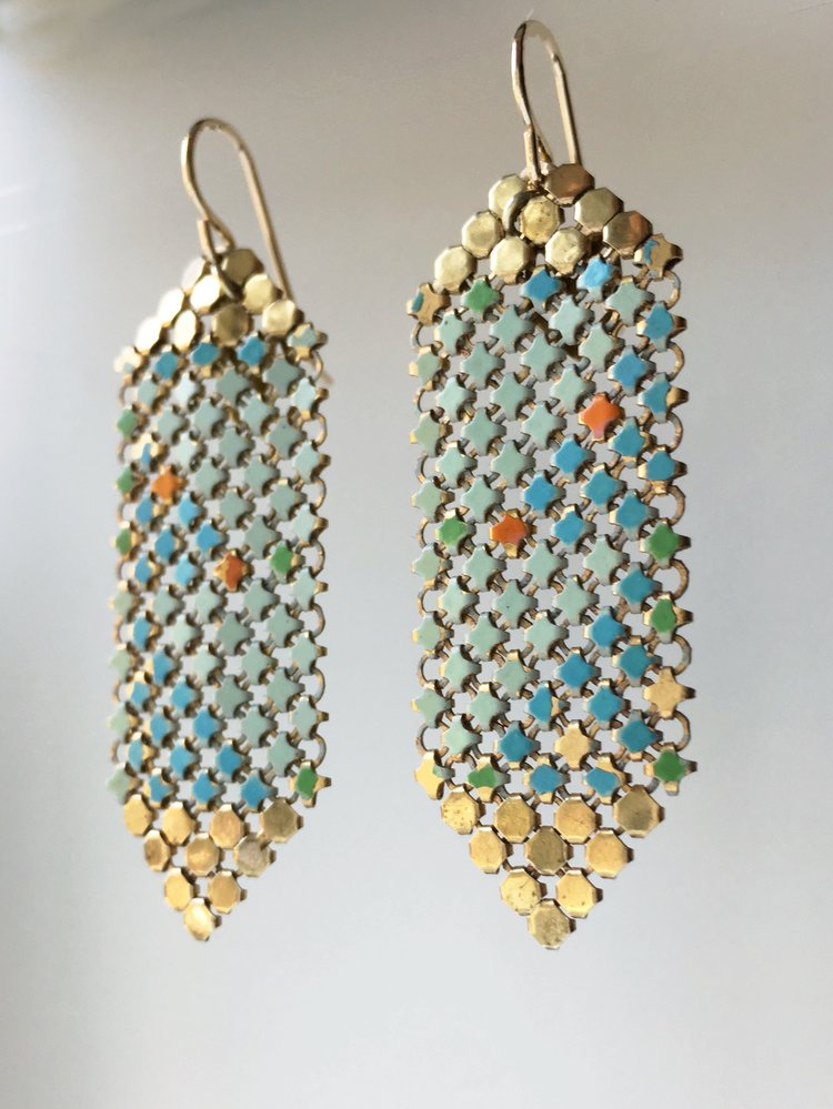 Aqua Gold Tipped Mesh Earrings, handmade with gold + enamel metal mesh recycled from two vintage mesh purses. by Maral Rapp, Modern Vintage Mesh Works