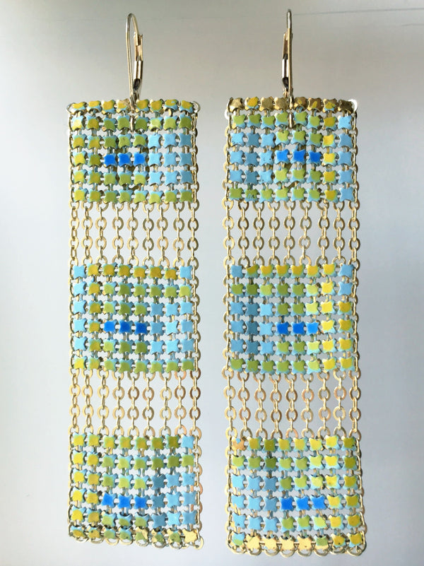 Block Tiled Long Earrings Aqua
