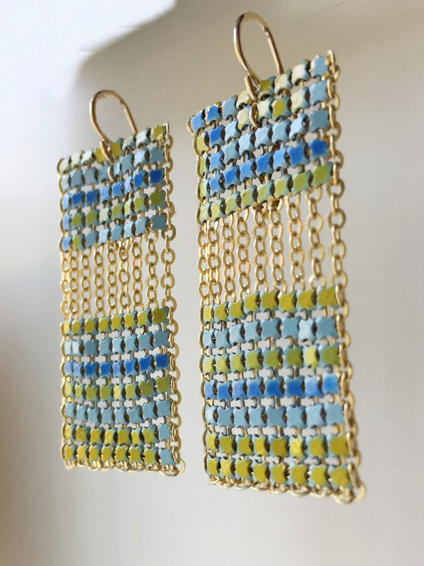 Block Tiled Earrings, Aqua, handmade with metal mesh recycled from an antique enamel mesh purse. by Maral Rapp, Modern Vintage Mesh Works