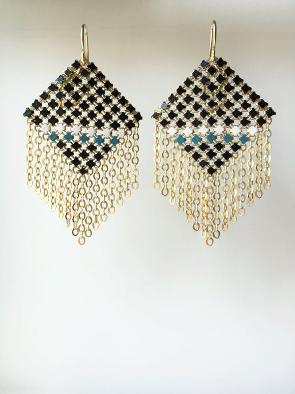 Bisect Fringed Mesh Earrings, handmade with enamel mesh recycled from an antique metal mesh purse. by Maral Rapp, Modern Vintage Mesh Works