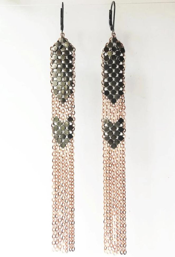 Stacked Mesh Duster Earrings - Grey Pink