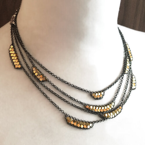 Flange Mesh Necklace - Layered