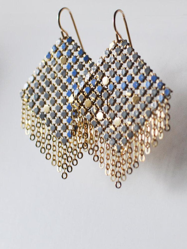 Mid Shimmy Mesh Earrings Grey Blue