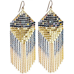 Iguazu Mesh Earrings Petrol Gold