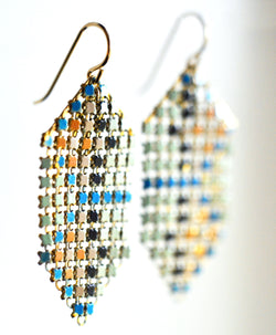 Mint Stitch Mesh Earrings