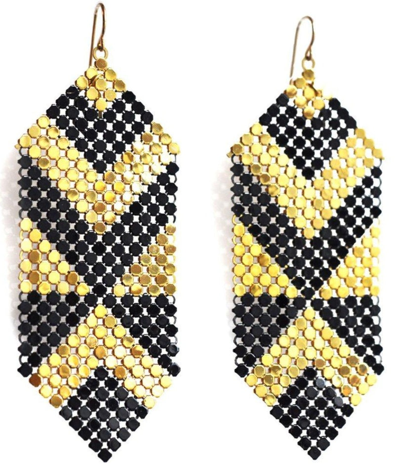 Deco Abstract Pieced Earrings, Black + Gold, handmade with mesh recycled from two vintage metal mesh purses. by Maral Rapp, Modern Vintage Mesh Works