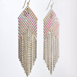 Large Fringed Earrings - Pink + Gold