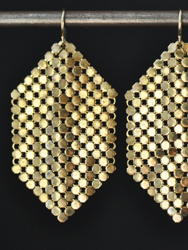 Gold Mesh Banner Earrings