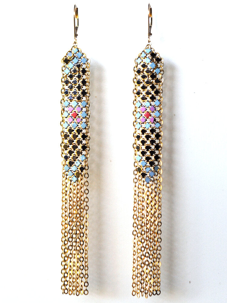 Rosey Fringed Long Earrings
