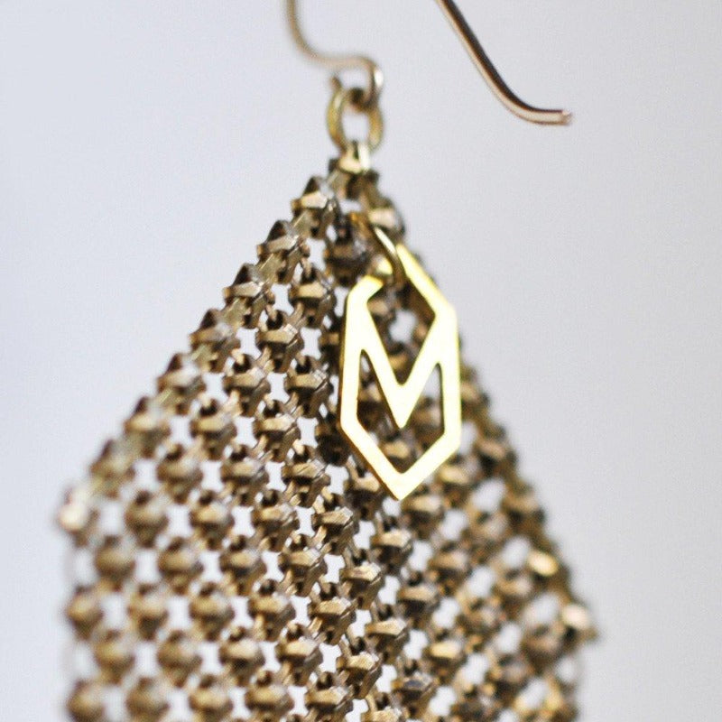 Logo tag detail, handmade earrings with metal mesh recycled from vintage and antique metal mesh purses. by Maral Rapp, Modern Vintage Mesh Works