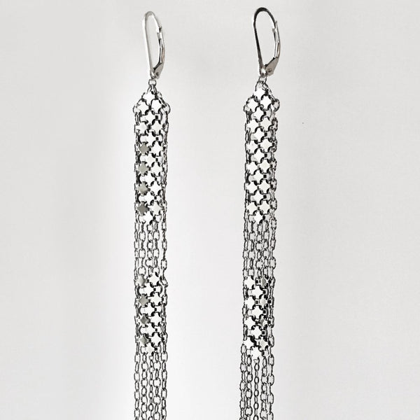 Antique Silver Mesh Duster Earrings