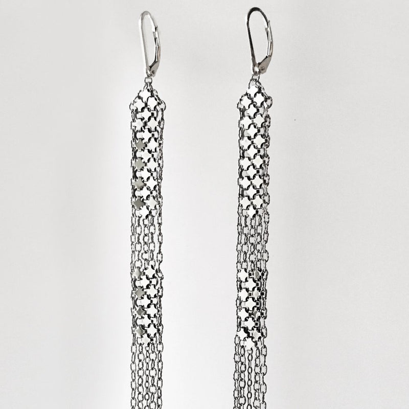 Stacked Duster Mesh Earrings, detail, handmade with silver metal mesh recycled from an antique enamel mesh purse. by Maral Rapp, Modern Vintage Mesh Works