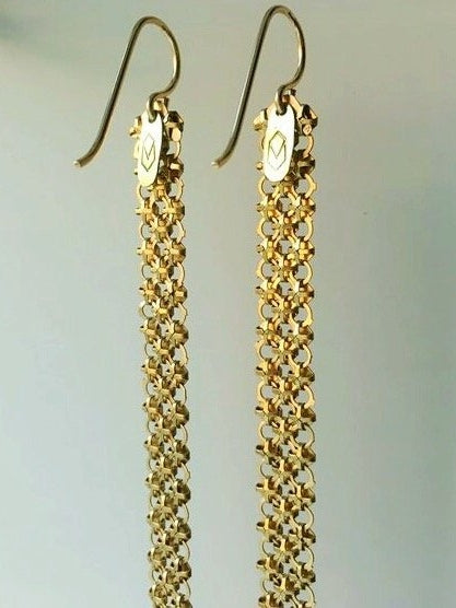 Slim Gold Mesh Duster Earrings