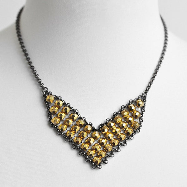 Stud Mesh Bib Necklace