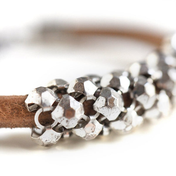 Stud Mesh Bracelet Chunky Silver Natural
