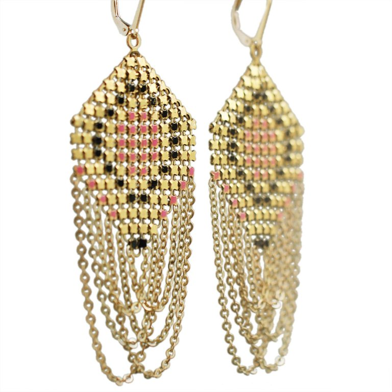 Lantern Swagged Earrings - Coral Eye