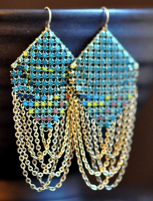 Iridescent Peacock Swagged Lantern Earrings