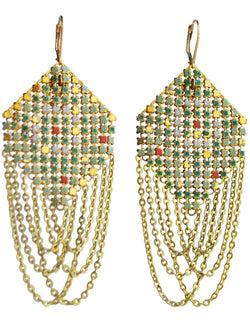 Antique Green Swagged Lantern Earrings