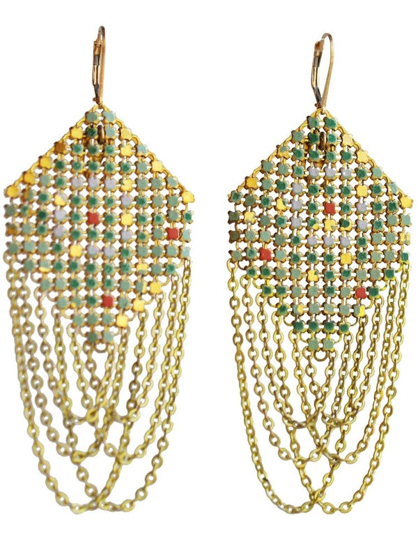 Swagged Lantern Green Mesh Earrings, handmade with metal mesh recycled from an antique enamel mesh purse. by Maral Rapp, Modern Vintage Mesh Works